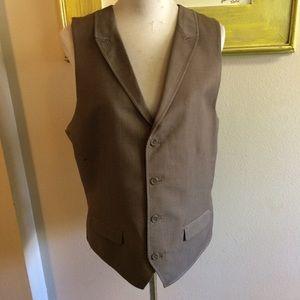 Alfani large collared suit vest brown pinstripe
